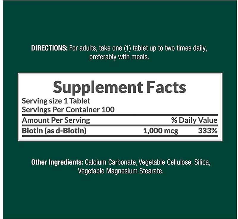 Biotin Supplement Facts