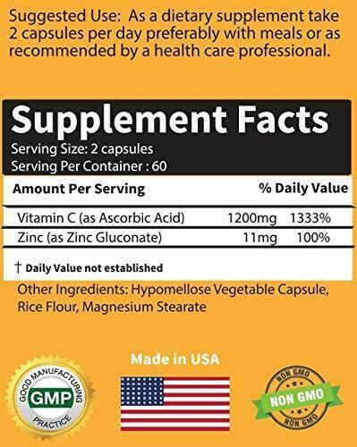 Vitamin C + Zinc Complex Supplement Facts