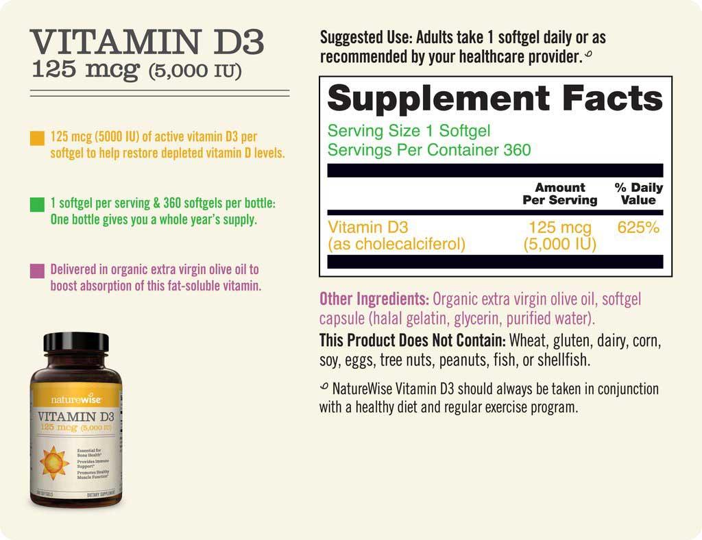Vitamin D3, 5000 IU Supplement Facts