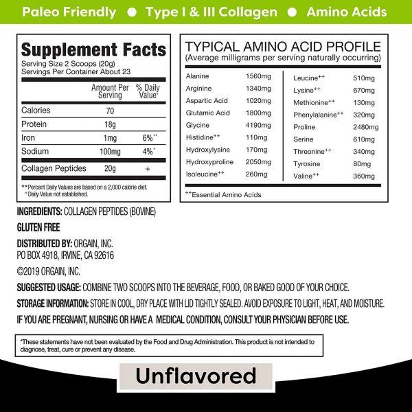 Hydrolyzed Collagen Peptides Powder Supplement Facts