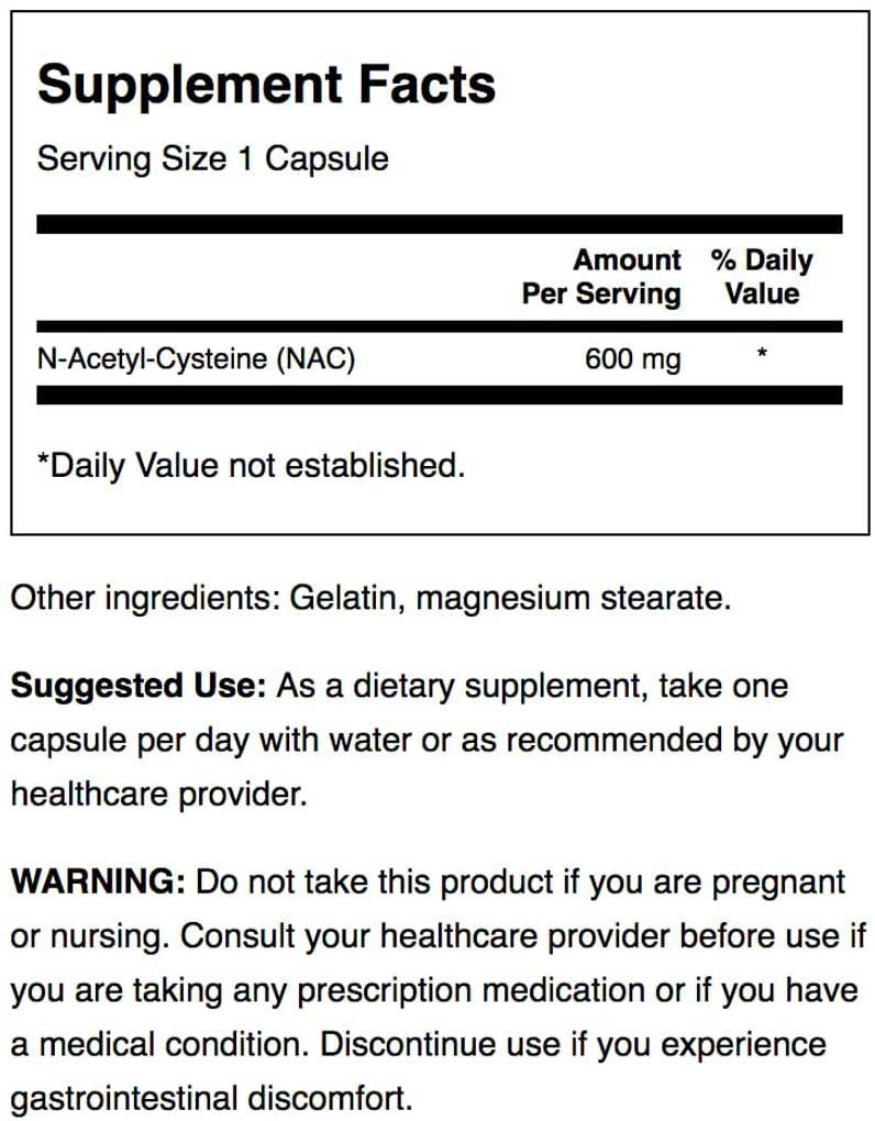 NAC Supplement Facts